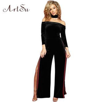 ArtSu Sexy Off shoulder Velvet Black Jumpsuit Romper Women High Split Winter Long Playsuit Wide Leg Pant Fall Overalls ASJU30243