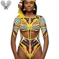 S-XXL Plus Size Swimwear African Swimsuit One Piece Push Up Padded Long Sleeve Swimsuits 2019 Sexy Swim Suits Women Monokini