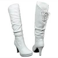 Womens Knee High Boots Ruched Sexy Leather Lace Up Dress Shoes White SZ 6H