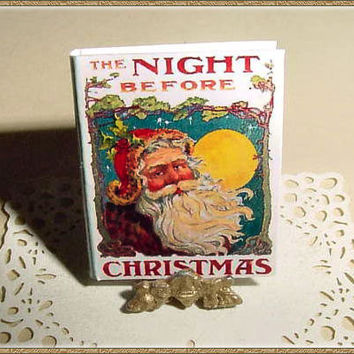 Miniature Book NIGHT BEFORE CHRISTMAS - One Inch Scale Dollhouse