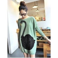 On Sale Green Lace Swan Knitting Women Sweater @T9023gr