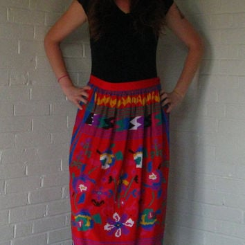 Charming 1980s Malia Skirt. Bright colors, Southwest print, flowers and stripes. Medium.