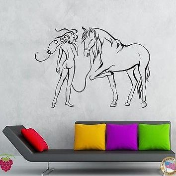 Wall Stickers Vinyl Decal Girl And Horse Modern Abstract Bedroom Decor Unique Gift (z1936)