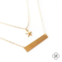Delicate Little Starfish and Gold Bar Necklace, Simple Gold Layer Necklace, Starfish Necklace, Gold Fill Necklace, Gold Layering Necklace