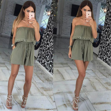 2017 Summer women Jumpsuits leisure sexy strapless chest wrapped piece shorts Fashion rompers Women  Solid Playsuits
