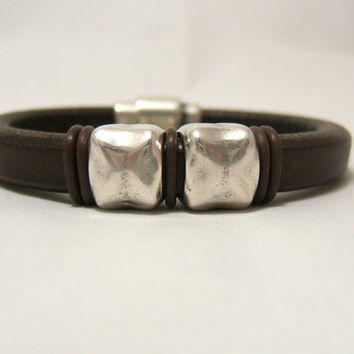 Brown Licorice Leather Men's Bracelet ~ Silver Distressed Tube spacers - Magnetic Bullet Clasp - Genuine Leather - custom sizing ~ Regaliz