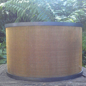 Industrial Lampshade Drum Bronze Screen Pendant Brown Linen Removable Diffuser Wholesale Chandelier Painted Wood Brown Grosgrain Ribbon Trim