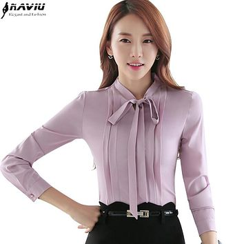 2016 Autumn OL elegant bow slim shirt women's long sleeve Formal chiffon blouse office ladies plus size fashion tops work wear