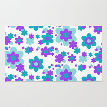 Turquoise Teal Blue and Purple Floral Rug by Decampstudios