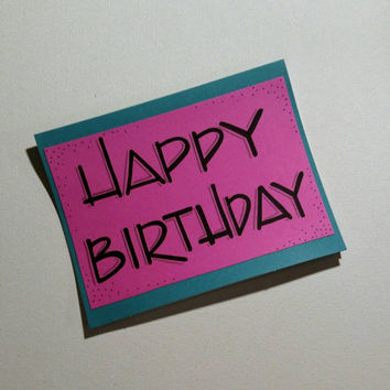 Colorful handmade birthday card // Happy Birthday// blank card// handcrafted card.