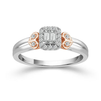 10K Rose and White Gold Baguette Cluster Diamond Engagement Ring