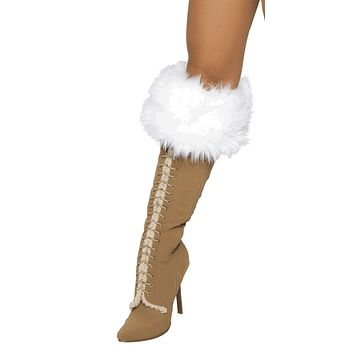 Sexy White Fur Fantasy Boot Covers Halloween Accessory