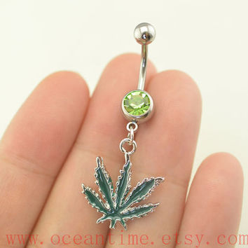 bellybutton ring,maple leaf belly button rings,maple navel ring,piercing belly ring,friendship piercing bellyring,oceantime