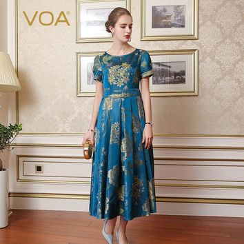 blue vintage high waist slim print pleated dress plus size silk jacquard floral women tunic Dress