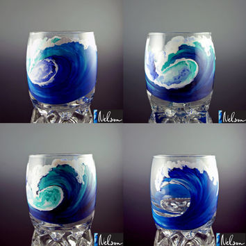 SALE Hand Painted Rocks Glasses, Tumbler Glass, Wave, Beach, Surf, Surfing, Surfboard, Hawaii, Cocktail, Surf Art, Big Blue, Four Glasses