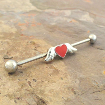 Angel Wing and Red Heart Industrial Barbell Jewelry