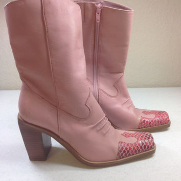 Pink Leather Cowboy Boots with Hot Pink Faux Snake Skin Toes and Three Inch Heels, Riverstone by Tombstone, Ladies Size 6M, Made in Brazil