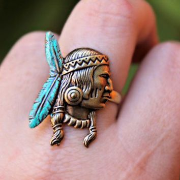 Indian chief ring, native american ring
