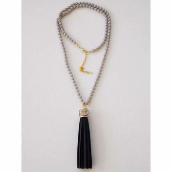 Black Leather Pave Tassel Beaded Necklace