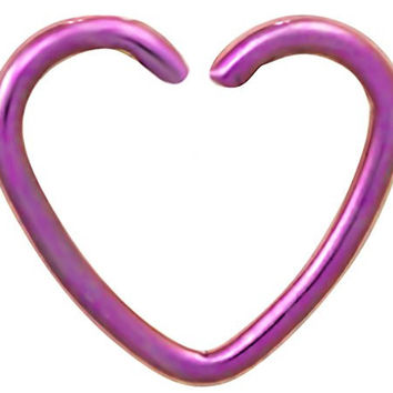 Fake Cartilage Earring: Titanium IP Plated Surgical Steel Purple Heart Shaped Clip-On Cartilage Hoop