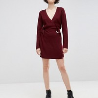 ASOS Chunky Knitted Dress With Wrap And Eyelet at asos.com