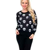 Black & White Long Sleeve Skulls Knit Sweater