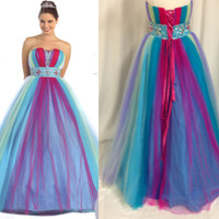 Rainbow Quinceanera Sweet 16 Dance Ball Gown Dress  Pageant Party Prom L fit 12