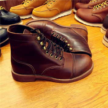 Classic Men's Cowhide Red Wing Style Toe-Cap Work Boots