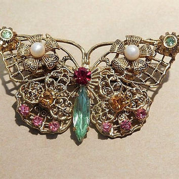 Czech Butterfly Brooch / Czechoslovakia Signed Brooch / Rhinestone Butterfly Brooch /  Czech Filigree Brooch / 1930s Art Deco Brooch