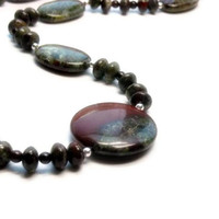 Dragons Blood Jasper Necklace with Garnet, Red, Green, Gemstone, Sterling Silver, Fall, tt team