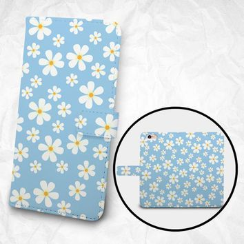 iPhone X iPhone 8 Plus case Samsung Galaxy S9 case Edge case Note 7 PU leather flip cover Book Phone case Wallet case - K13 Diasy Flowers