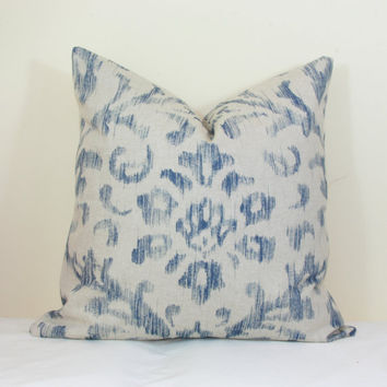 Blue oatmeal throw pillow cover 18x18 20x20 22x22 24x24 26x26 Euro sham blue Lumbar pillow 12x24 14x26 16x24 16x26 Denim blue tan Indigo