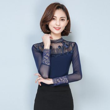 2018 Fashion Spring Autumn Women T Shirt Turtleneck Long Sleeve Hollow Out Patchwork Floral Lace Tees Elegant Ladies Tee Tops