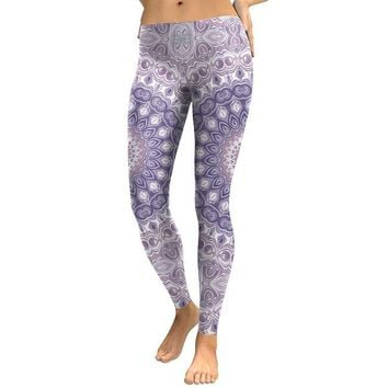 Digital Mandala Flower Women's Light Purple & White Slim High Waisted Elastic Printed Fitness Workout Leggings