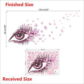 Charming Fairy Girl Eye Wall Sticker For Kids Rooms Flower butterfly LOVE heart Wall Decal Bedroom Sofa Decoration Wall Art SM6