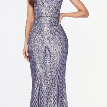 V-Neck Glitter-Embellished Long Prom Dress Navy Blue