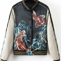 Cool Girl Tiger Eagle Print Bomber Jacket