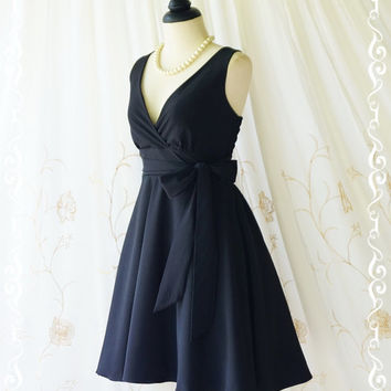 My Lady II Spring Summer Sundress Vintage Design Black Party Dress Black Bridesmaid Dress Black Garden Party Sundress lbd XS-XL