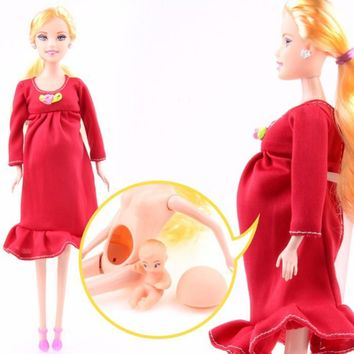 Fashion DIY Real Pregnant Mom Doll Beautiful Barbie Dolls Have a Baby in Tummy Girl Prensent Doll Toy Gift