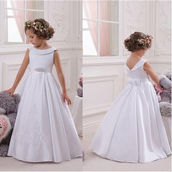 2017 New Cheap Flower Girl Dresses For  A Line Satin Princess Pageant Party Gowns First Communion Dress For Child Teen Custom
