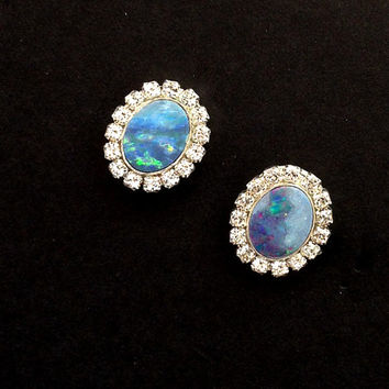Opal Stud Earrings, Australian Black Opal Earrings,  Lightning Ridge Opal, October Birthstone Handmade