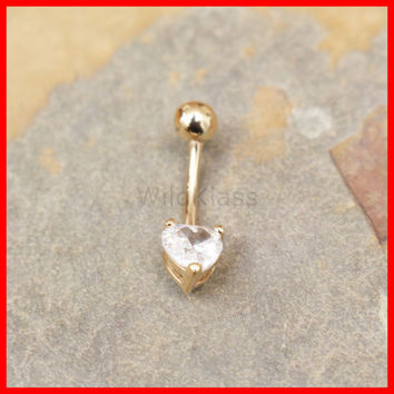 14k Gold Ring 14g Navel Ring Heart Gem Prong Setting Solid Gold Belly Button Ring Navel Piercing Belly Button Piercing Navel Jewelry Bling