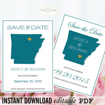 Arkansas State Map Save the Date Editable PDF Templates - Arkansas Peacock State Map Save the Date Printable  Instant Download DIY You Print