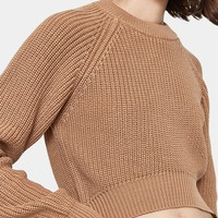 Callahan / Shaker Knit Hi Lo Sweater in Camel
