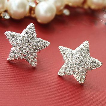 ES833 Fashion Silver plated imitation pentagram earrings full Jewelry Accessories