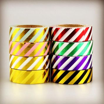 Foil Washi Tape Paper Set Blue Pink Gold Yellow Red Green Purple Black Stripes Scrapbooking Decorative Adhesive Tape Stationery