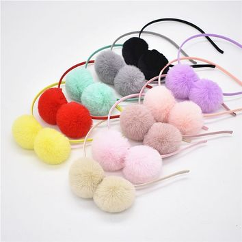 1psc sweet for girls cute rabbit plush large hair ball  cat ears ring ribbon tiara women hair accessories for children  Headband