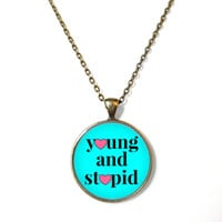 Pastel Goth young and stupid Necklace - Pop Culture Jewelry - Funny Soft Grunge Pentagram Necklace