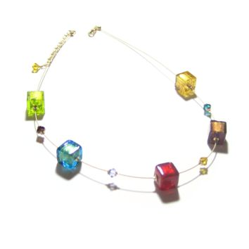 Murano Glass Colorful Cube Gold Necklace, Illusion Necklace