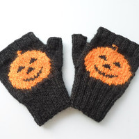 Halloween Fingerless Gloves, Hand Knitting , Pumpkin, Teenage, Orange, Black, Horror